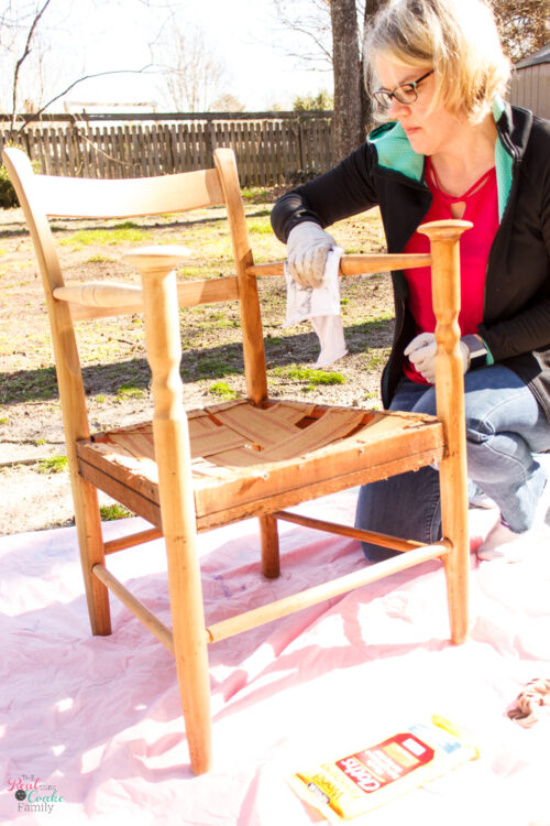 Learn how to refinish furniture with this DIY vintage chair makeover. Step by step directions for furniture refinishing & tips and tricks to finish the job.