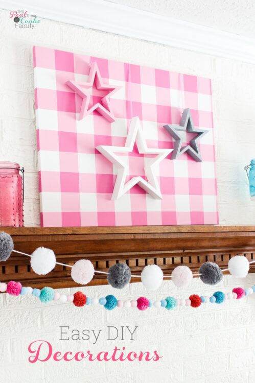pink, white and gray stars on pink gingham background
