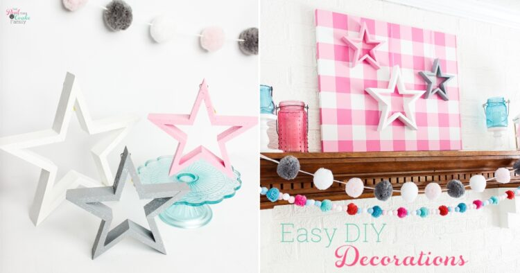 collage with pictures of pink, white, and gray stars