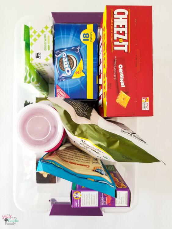 road trip snacks in plastic bin shown from overhead
