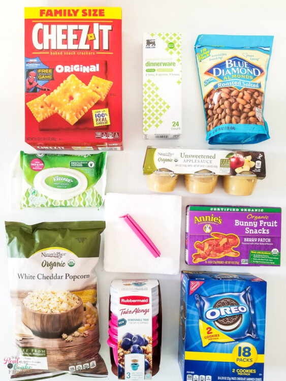 road trip snacks laid out to show all