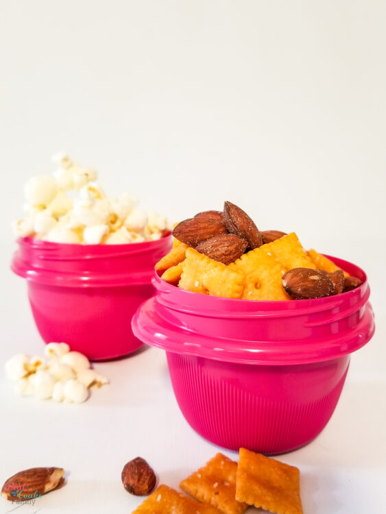 cheez-its and almonds in container