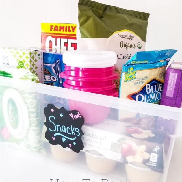 road trip snacks in plastic bin