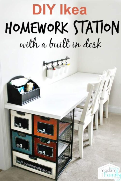 desk with metals drawers and hanging buckets for homework station