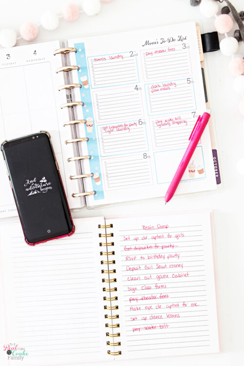 planner with items written on mom to do list and items crossed off brain dump
