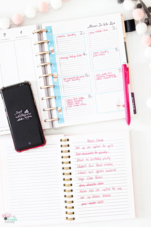 planner with more items written on mom to do list and more items crossed off brain dump