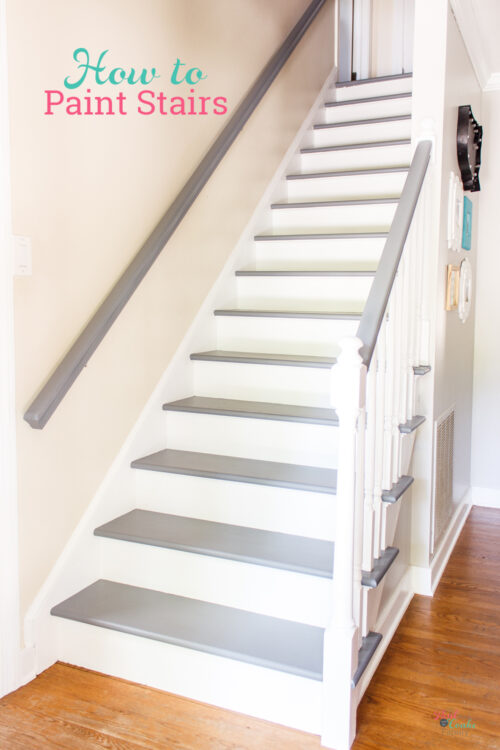 after of painting stairs makeover