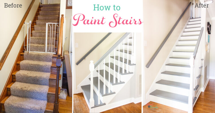 collage of before and after staircase makeover