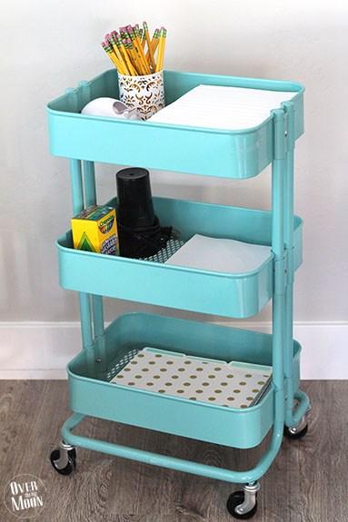 IKEA cart filled with homework supplies