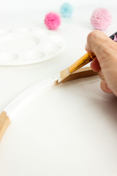 painting wreath hoop white
