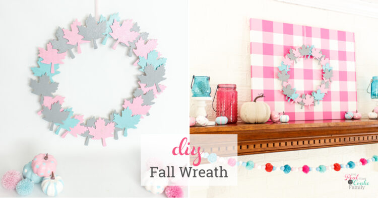 collage of fall wreath and mantle
