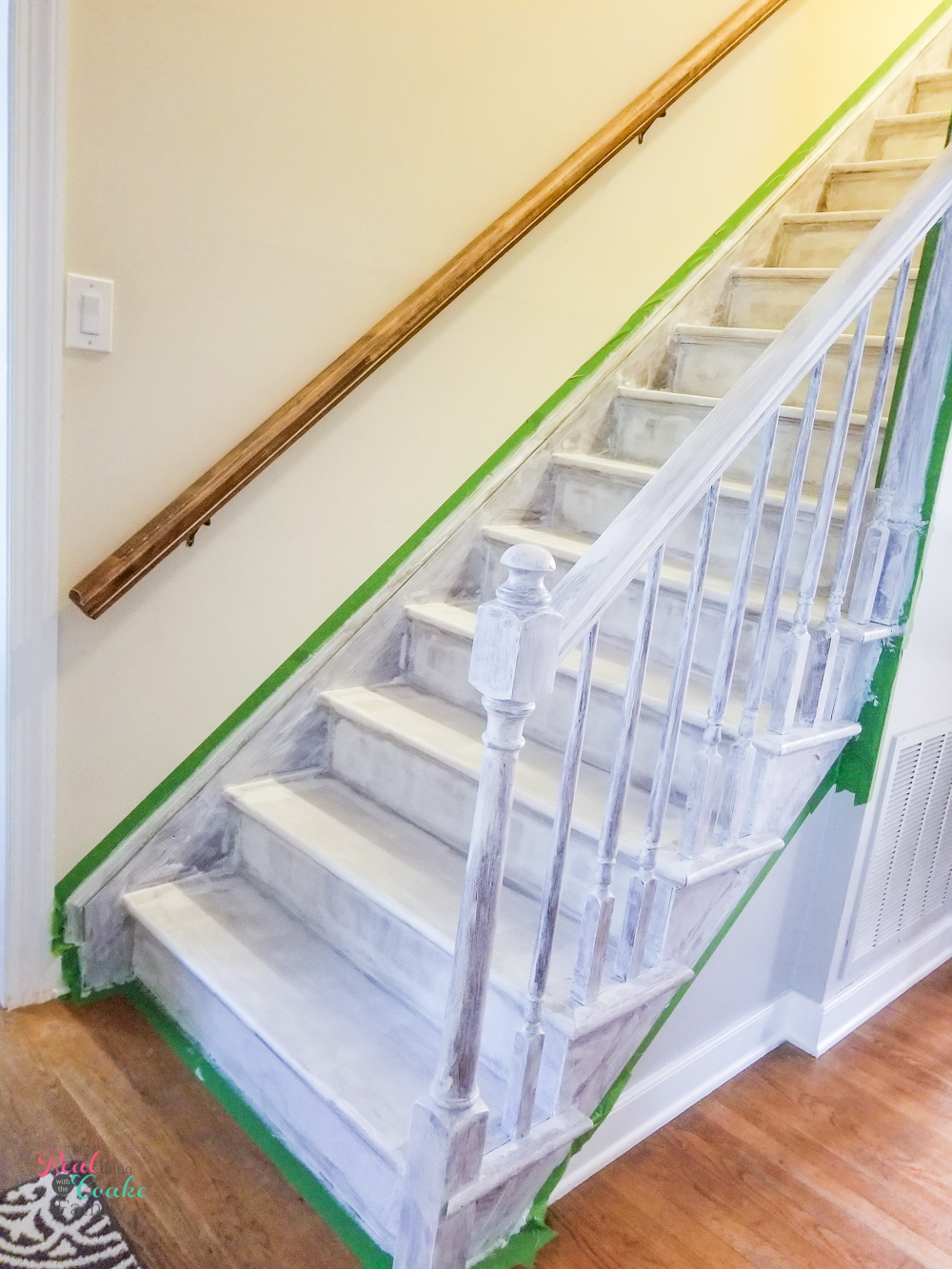 stairs taped and primed for painting