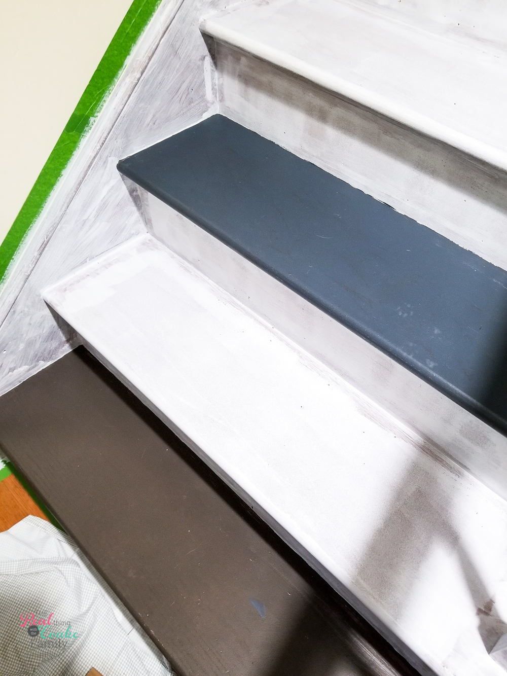 testing paint colors on stairs