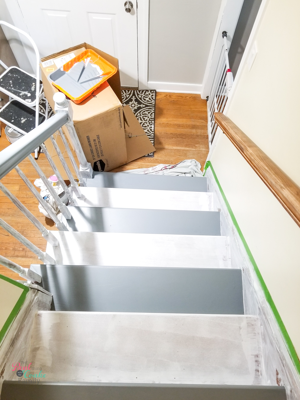 showing blocking off stairs for pets with every other tread painted