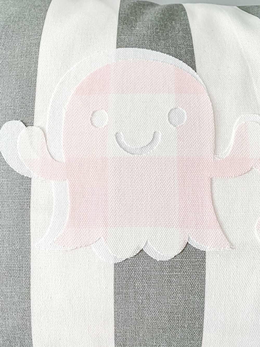 pink and white ghost applique