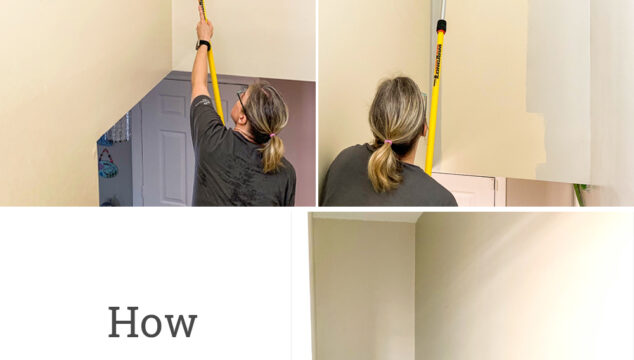 collage showing how to paint a stairwell