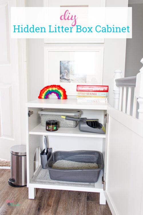 inside of IKEA DIY hidden litter box cabinet