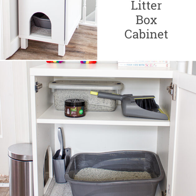easy DIY hidden litter box cabinet