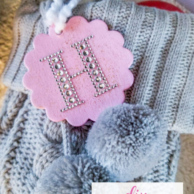 pink diy personalized stocking tag
