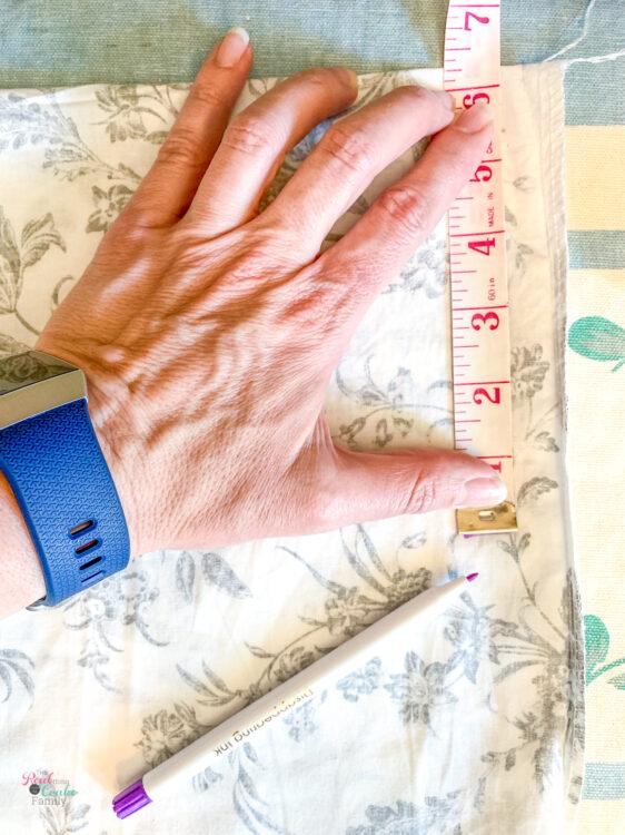 measuring how much to shorten pillow sham
